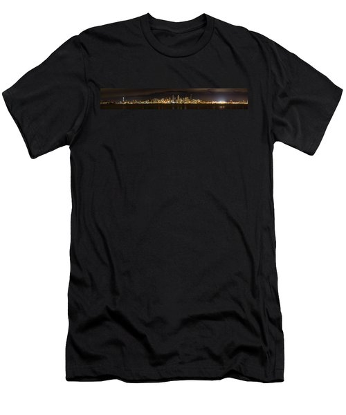 Men's T-Shirt (Slim Fit) featuring the photograph Seattle Waterfront At Night Panoramic by Chris McKenna
