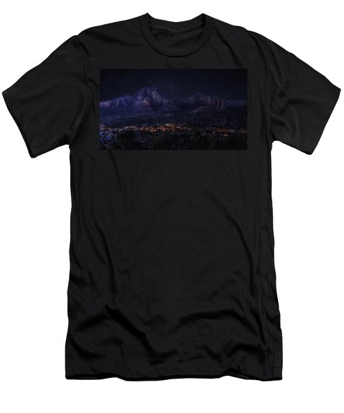 Men's T-Shirt (Slim Fit) featuring the photograph Sedona By Night by Lynn Geoffroy