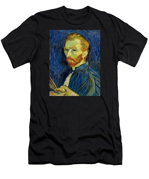 Men's T-Shirt (Athletic Fit) featuring the painting Self Portrait With Palette by Vincent Van Gogh