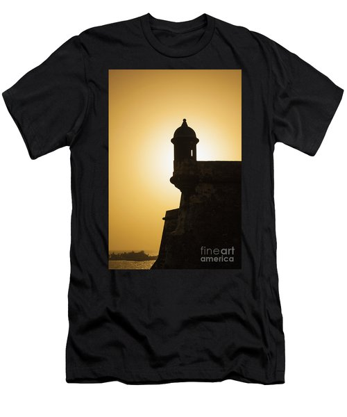 Sentry Box At Sunset At El Morro Fortress In Old San Juan Men's T-Shirt (Athletic Fit)