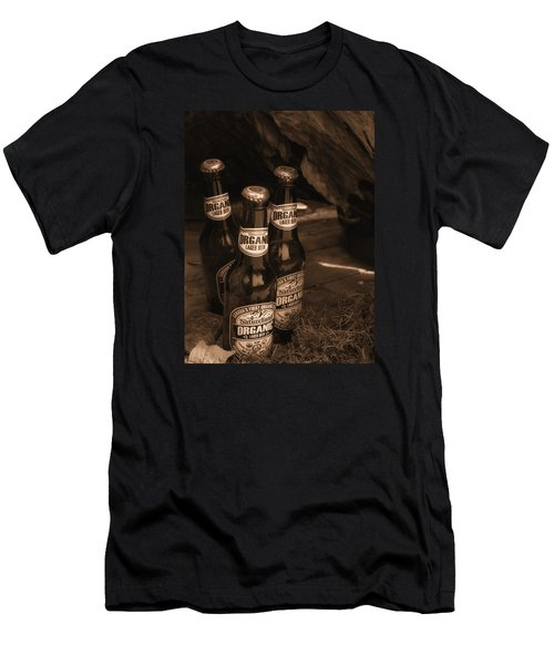 Men's T-Shirt (Slim Fit) featuring the photograph Sepia Bottles by Rachel Mirror