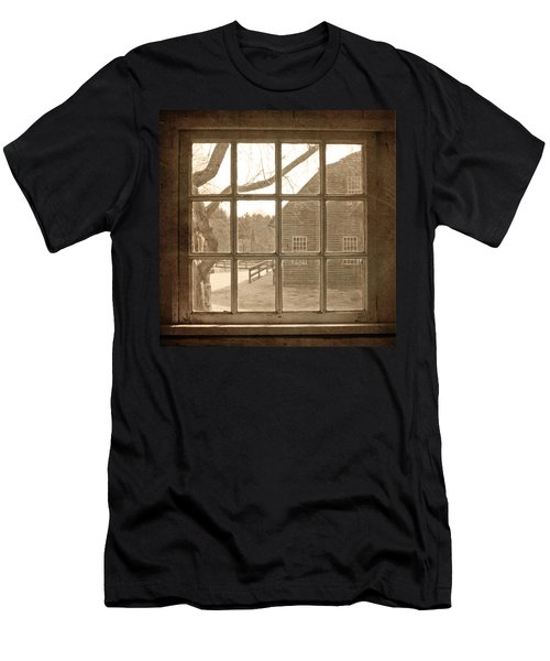 Sepia Colonial Scene Through Antique Window Men's T-Shirt (Athletic Fit)