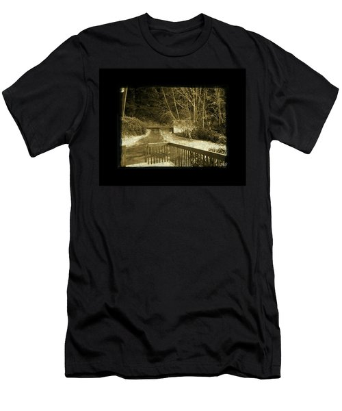 Men's T-Shirt (Slim Fit) featuring the photograph Sepia - Country Road First Snow by Absinthe Art By Michelle LeAnn Scott