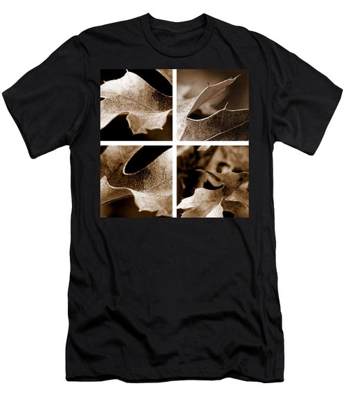 Men's T-Shirt (Slim Fit) featuring the photograph Sepia Leaf Collage by Lauren Radke