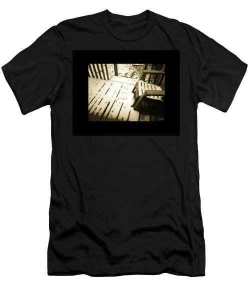 Men's T-Shirt (Slim Fit) featuring the photograph Sepia - Nature Paws In The Snow by Absinthe Art By Michelle LeAnn Scott