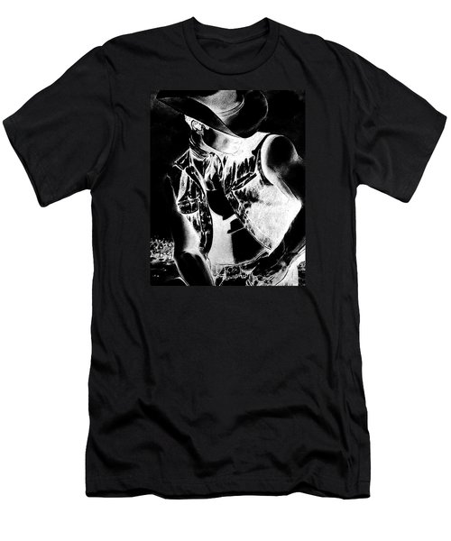 Print With Black And White Sexy Cowboy  Men's T-Shirt (Slim Fit) by RjFxx at beautifullart com
