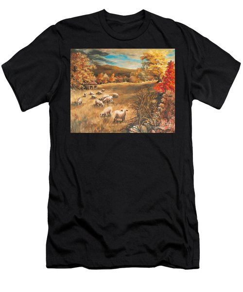 Sheep In October's Field Men's T-Shirt (Athletic Fit)