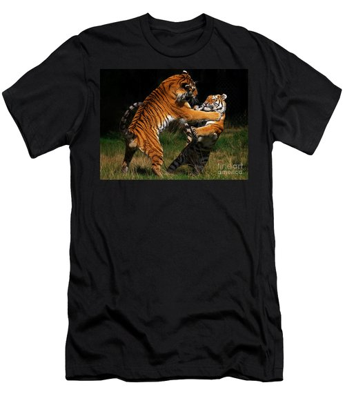 Men's T-Shirt (Slim Fit) featuring the photograph Siberian Tigers In Fight by Nick  Biemans