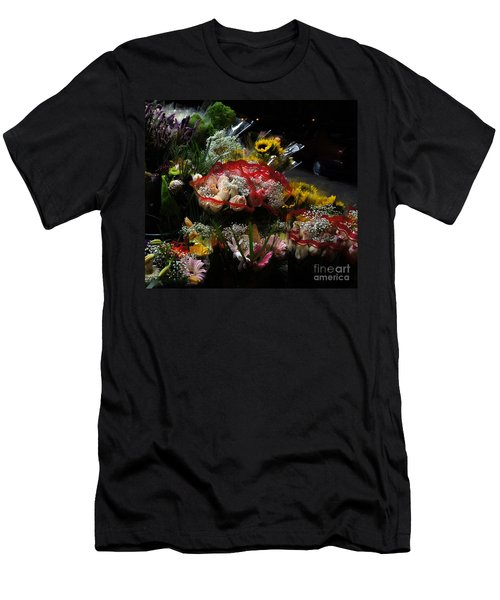 Men's T-Shirt (Slim Fit) featuring the photograph Sidewalk Flower Shop by Lilliana Mendez