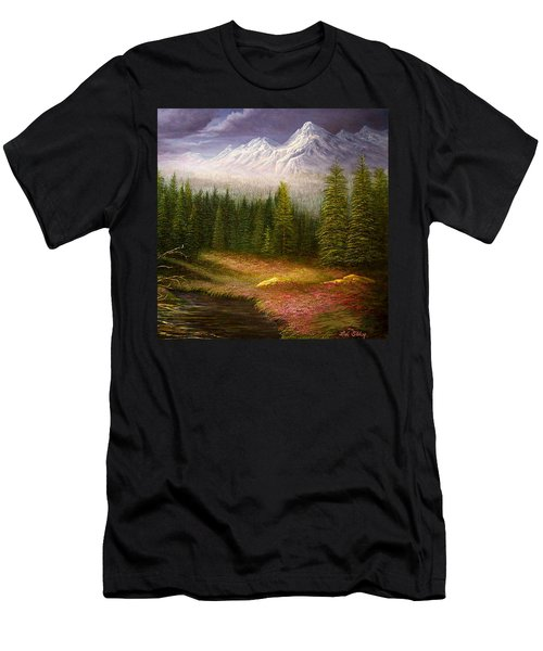 Sierra Spring Storm Men's T-Shirt (Slim Fit) by Loxi Sibley