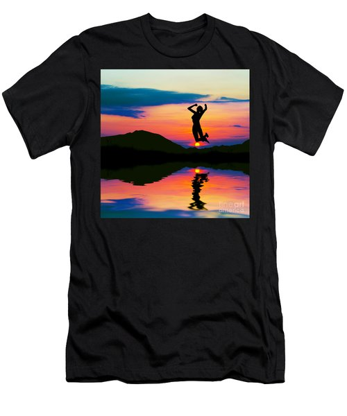 Silhouette Of Happy Woman Jumping At Sunset Men's T-Shirt (Athletic Fit)