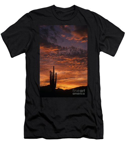 Silhouetted Saguaro Cactus Sunset At Dusk With Dramatic Clouds Men's T-Shirt (Athletic Fit)