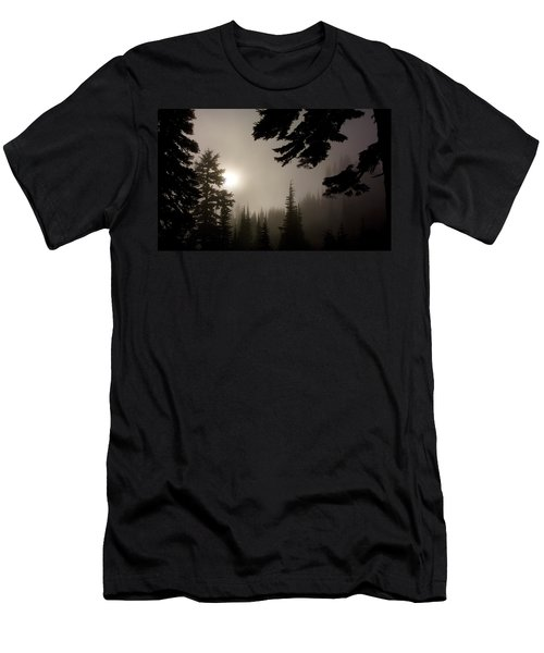 Silhouettes Of Trees On Mt Rainier Men's T-Shirt (Athletic Fit)