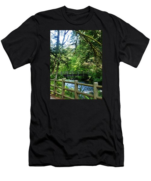 Men's T-Shirt (Slim Fit) featuring the photograph Silver Falls Stream by VLee Watson