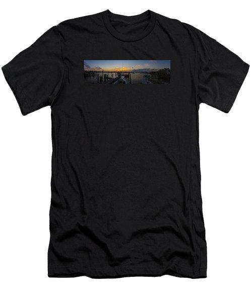Silver Lake Sunset Panorama Men's T-Shirt (Slim Fit) by Greg Reed