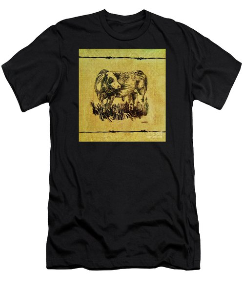 Men's T-Shirt (Slim Fit) featuring the drawing Simmental Bull 12 by Larry Campbell