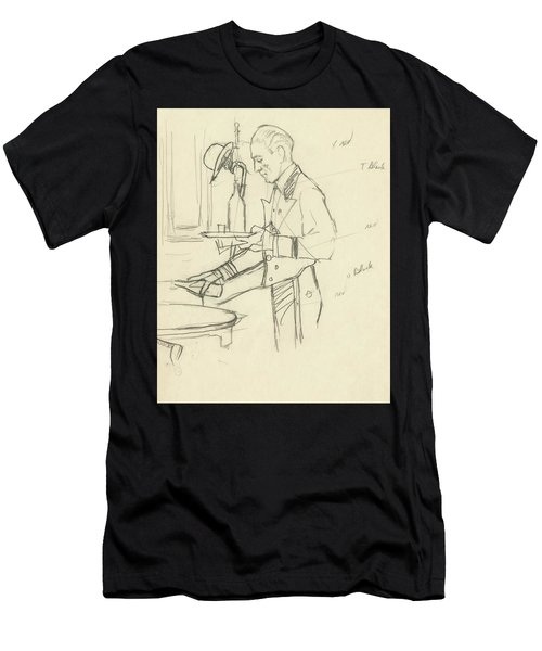 Sketch Of Waiter Pouring Wine Men's T-Shirt (Athletic Fit)