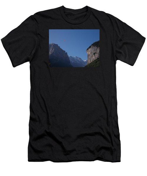 Skydiver Over Lauterbrunnen Men's T-Shirt (Athletic Fit)