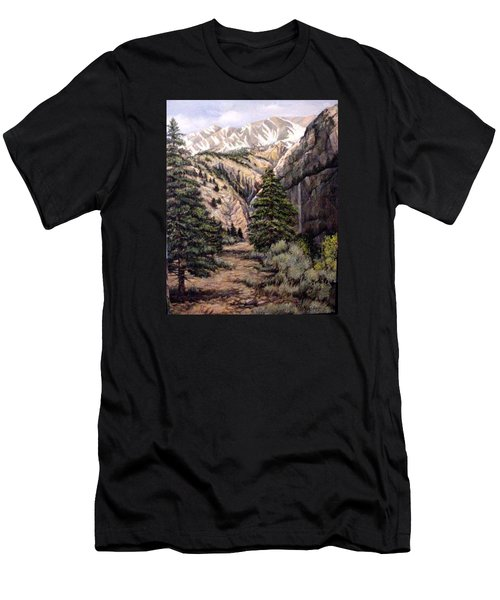 Men's T-Shirt (Slim Fit) featuring the painting Sleeping Faces In The Rock by Donna Tucker