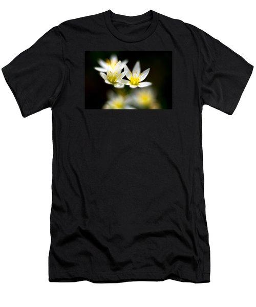 Small White Flowers Men's T-Shirt (Slim Fit) by Darryl Dalton