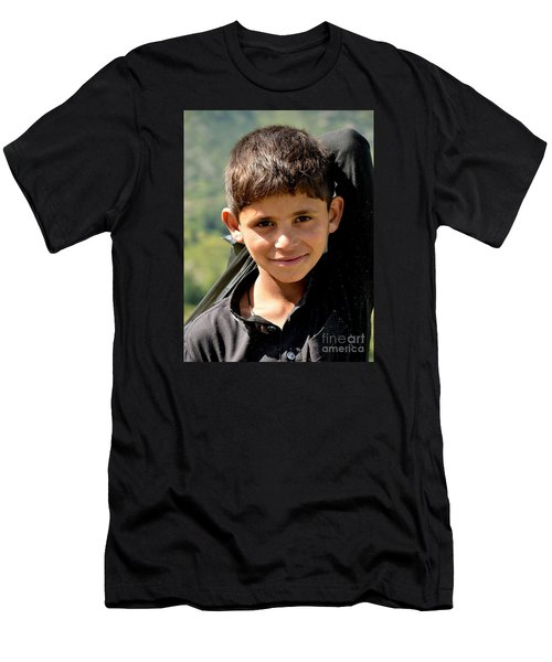 Men's T-Shirt (Slim Fit) featuring the photograph Smiling Boy In The Swat Valley - Pakistan by Imran Ahmed