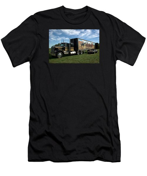 Smokey And The Bandit Tribute 1973 Kenworth W900 Black And Gold Semi Truck Men's T-Shirt (Athletic Fit)