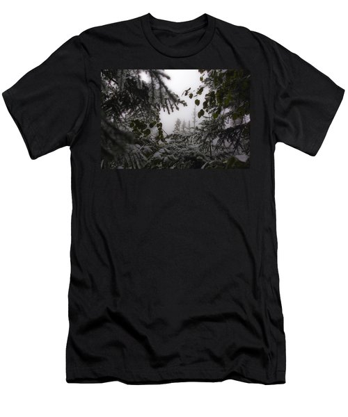 Snow In Trees At Narada Falls Men's T-Shirt (Athletic Fit)