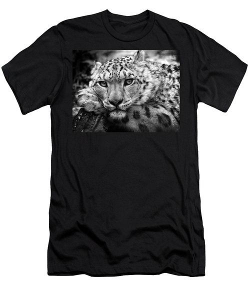 Snow Leopard In Black And White Men's T-Shirt (Athletic Fit)