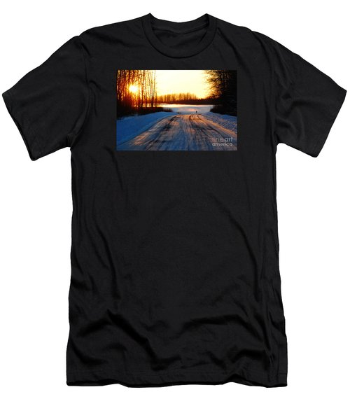 Snowy Anchorage Sunset Men's T-Shirt (Slim Fit) by Cynthia Lagoudakis