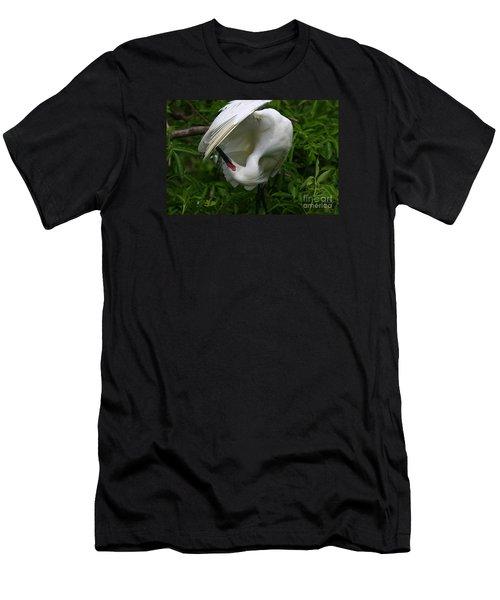 Snowy Egret Preening Men's T-Shirt (Athletic Fit)