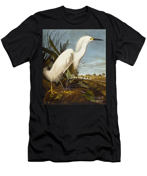 Snowy Heron Or White Egret Men's T-Shirt (Slim Fit) by John James Audubon