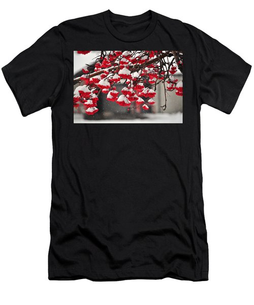 Men's T-Shirt (Slim Fit) featuring the photograph Snowy Mountain Ash Berries by Fran Riley