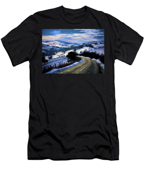Snowy Scene And Rural Road Men's T-Shirt (Athletic Fit)