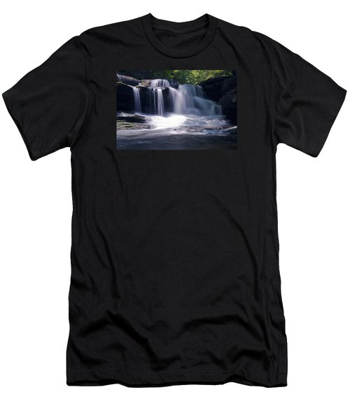 Soft Light Dunloup Falls Men's T-Shirt (Slim Fit) by Shelly Gunderson