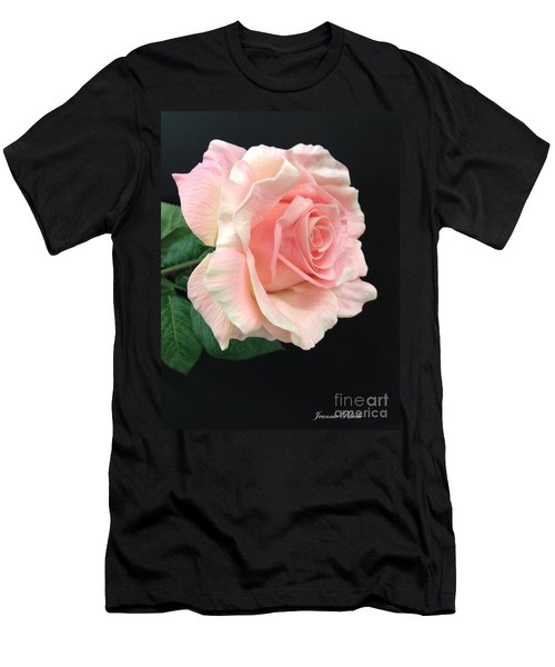 Men's T-Shirt (Slim Fit) featuring the photograph Soft Pink Rose 1 by Jeannie Rhode