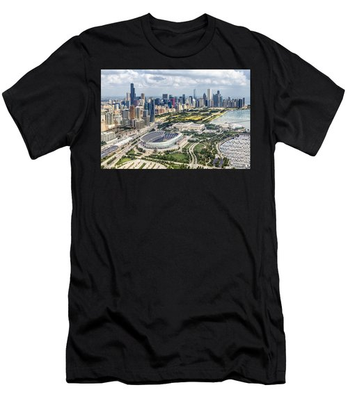 Soldier Field And Chicago Skyline Men's T-Shirt (Athletic Fit)