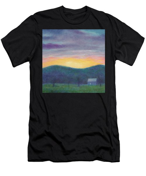 Blue Yellow Nocturne Solitary Landscape Men's T-Shirt (Athletic Fit)