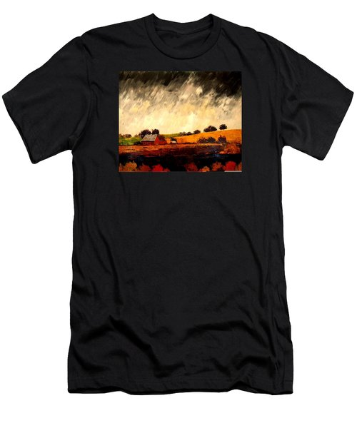 Men's T-Shirt (Slim Fit) featuring the painting Somewhere Else by William Renzulli
