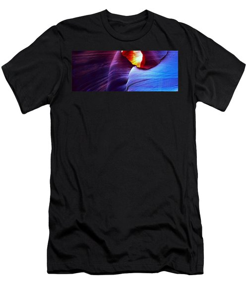 Men's T-Shirt (Slim Fit) featuring the photograph Somewhere In America Series - Blue In Antelope Canyon by Lilia D