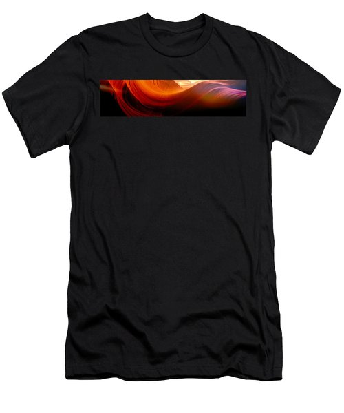 Men's T-Shirt (Slim Fit) featuring the photograph Somewhere In America Series - Red Waves In Antelope Canyon by Lilia D