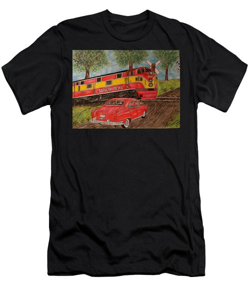 Southern Pacific Train 1951 Kaiser Frazer Car Rr Crossing Men's T-Shirt (Athletic Fit)