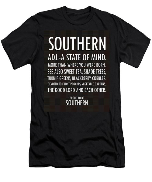 Southern State Of Mind Black And White Men's T-Shirt (Athletic Fit)