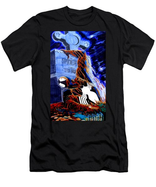 Men's T-Shirt (Slim Fit) featuring the drawing Spider Resurrection Pop Art by Justin Moore