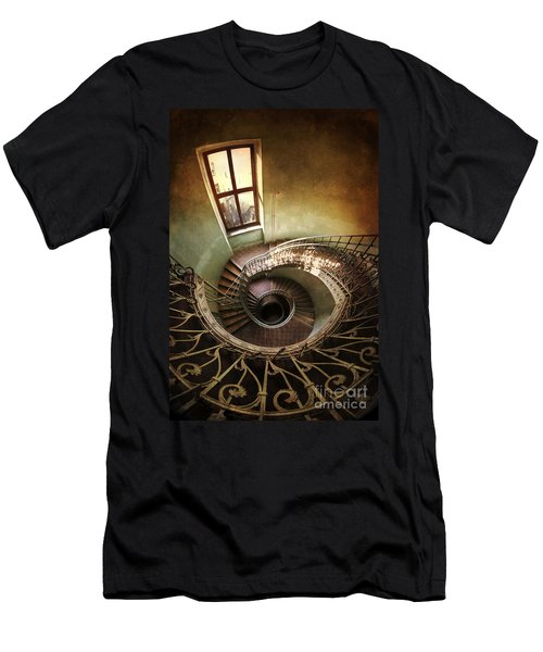 Men's T-Shirt (Athletic Fit) featuring the photograph Spiral Staircaise With A Window by Jaroslaw Blaminsky