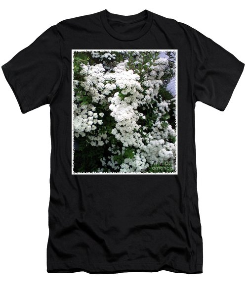 Men's T-Shirt (Slim Fit) featuring the photograph Spirea Bridal Veil by Barbara Griffin