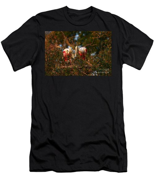 Men's T-Shirt (Slim Fit) featuring the photograph Spoonbill Love Nest by John F Tsumas