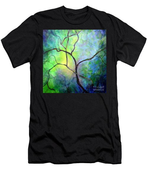Men's T-Shirt (Slim Fit) featuring the painting Spring Catawba Tree by Jodie Marie Anne Richardson Traugott          aka jm-ART