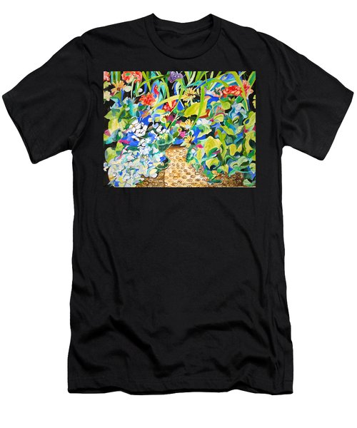 Men's T-Shirt (Slim Fit) featuring the painting Spring Flowers In A Brown Basket by Esther Newman-Cohen