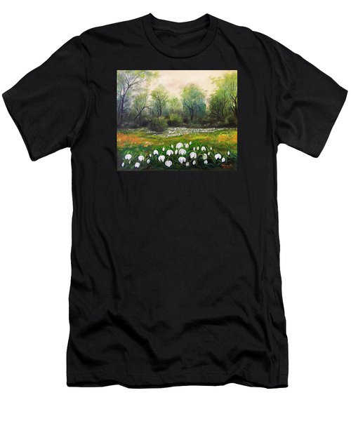 Men's T-Shirt (Slim Fit) featuring the painting Spring by Vesna Martinjak