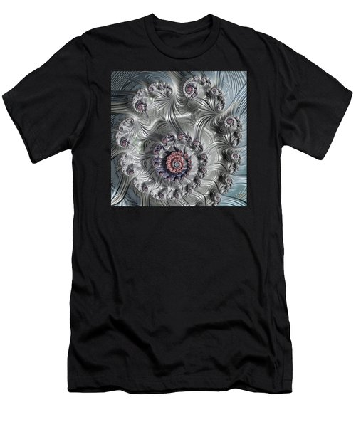 Square Format Abstract Fractal Spiral Art Men's T-Shirt (Athletic Fit)